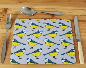 Blue Tit Placemat Set - place mats - table mats - bird placemats - cork placemat - placemat set - blue tit - gardening gift - new home gift