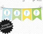 Easy to Edit Blue, Green & Yellow Chevron  Banners - Instant Download PDF Templates, print within minutes, instructions included .. bgyc01