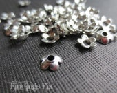 50X - antiqued silver tibetan style tiny flower cute bead caps