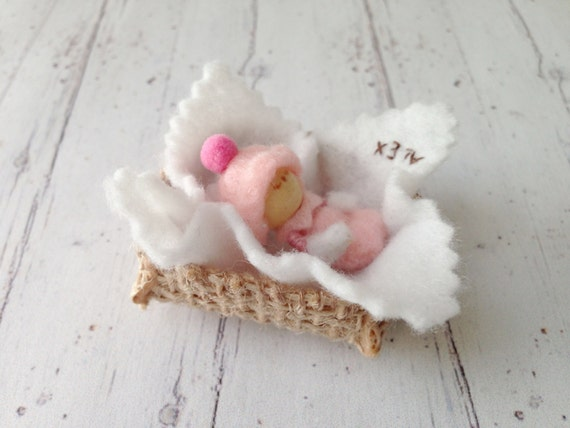 Custom New born Baby Collectible Figurine Collectible Pink Baby Cute Adorable Tiny Micro Miniatures Personalized