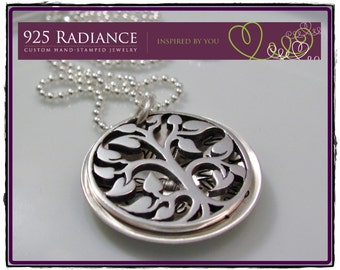 Family TREE of LIFE LOCKET- Sterling Silver Hand Stamped Necklace with Family Tree Charm