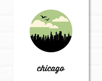 chicago skyline // chicago art // chicago print // chicago poster // illinois // windy city