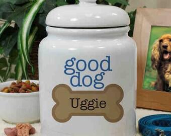 Personalized Ceramic Good Dog Treat Jar - U659315