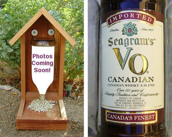 Bottle BIRD FEEDER, Whisky Bottle. Recycled Whisky Bottle, Hand Made (bird seed not included). Ready to Ship
