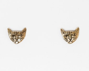 Brass tiny cat earrings