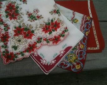 Vintage Ladies Handkerchief Lot in Reds Florals Pointsettis