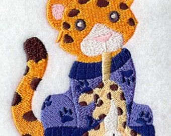 Leopard in PJs with stuffed animal Embroidered Flour Sack Hand/Dish Towel