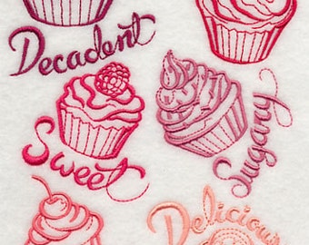 Cupcake Lovers Collection Embroidered Flour Sack Hand/Dish Towel