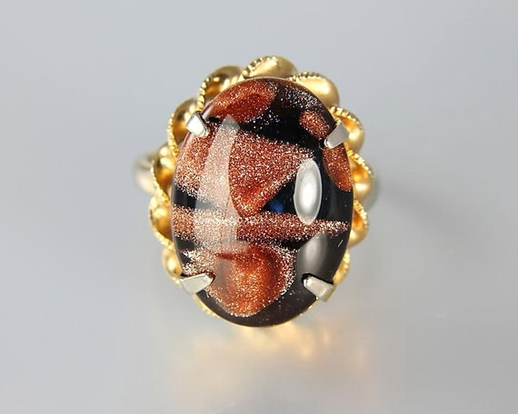 Vintage aventurine Murano Venetian Glass Ring Brown and Gold