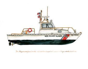 "41-foot Utility Boat (UTB), Coast Guard watercolor print, 8x10"""