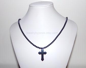 Mens Necklace, Mens Cross Necklace, Pendant Necklace, Beaded Necklace, Gunmetal Necklace, Cross Necklace