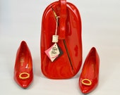 1970s Red Vinyl Pedi-Pac Shoe Bag