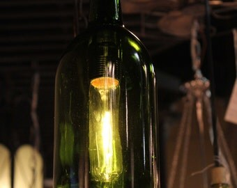 Emerald Green Recycled Wine Bottle Hanging Pendant Light