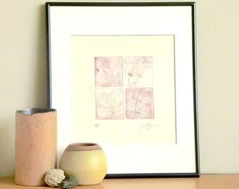 Original Etching Print FLOWERS & LEAVES Floral Aquatint Printmaking Shabby Wall Art Decor Fine Art Engraving Print 10x10