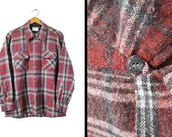 Vintage Loop Collar Wool Shirt JC Penney Flap Pockets Red Rust Plaid Long Sleeve - Medium