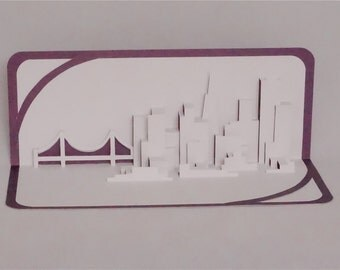 SAN FRANCISCO SKYLINE Pop Up 3D Card Home Decoration Origamic Architecture Hand Cut in White and Metallic Purple. Folds Flat. Unique gift.