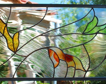 Stained Glass Window Panel, Falling Leaves rust taupe cypress green gold