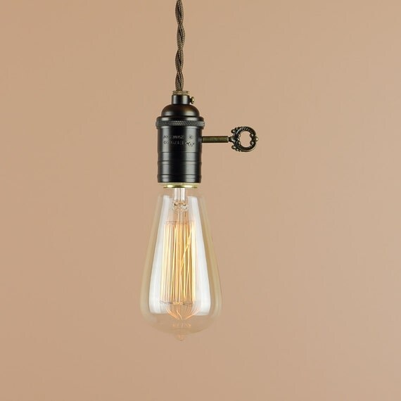 Plug In Pendant Light With Edison Light Bulb 10 Foot Cord