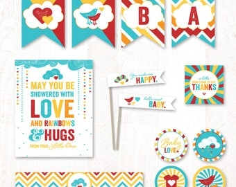 Retro Rainbow Baby Shower - Instant Download PRINTABLE Party Kit