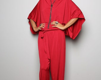 Red Jumpsuit -  Red Jumper Maxi Dress : Chic & Casual Collection