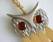 Gold Silver Owl Pendant Necklace Jewel Eyes LoNG LaRGE Mixed Metal Owl Necklace Jewel eye Owl Long necklace  Gold Owl  -FREE US SHIP