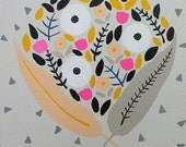 Floral Bouquet Painting on Canvas (light gray background with peach and gray leaves and gray triangles)