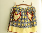 Early 1960's Half Apron - Vintage Kitchen Accessory  - Handmade Retro Apron - Black and Yellow Apron - Black, Yellow and Red Print Apron