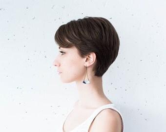 Crescent earrings, geometric jewelry, half moon earrings hanging