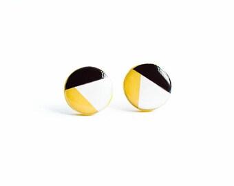 Mustard geometric earrings studs, post earings, trending jewelry
