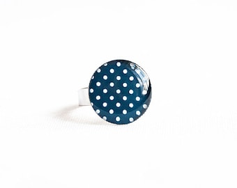 Navy blue ring, polka dot jewelry, ring adjustable