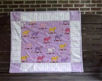 Little Lambs Patchwork Baby Quilt in Lavender