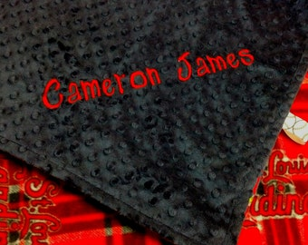 Personalized St Louis Cardinals Baseball Plaid Fleece and Minky Baby Blanket. Coordinating pillow, bib and burp rags also available.