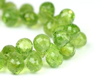 Peridot Micro Faceted Teardrop Briolettes 3 Large Kiwi Grass Green Semi Precious Gemstone color