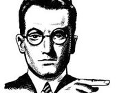 Man Glasses Nerd Geek Points Finger - Digital Image - Vintage Art Illustration - Instant Download