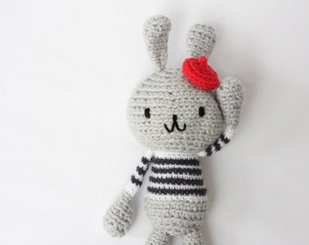 Amigurumi Crochet Bunny Rabbit, Stuffed Toy, Rabbit Plushie - Grey Bunny in Black and White Striped Sweater and Red beret hat