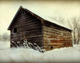 Little Farm Shed Rustic Barn Winter Scene