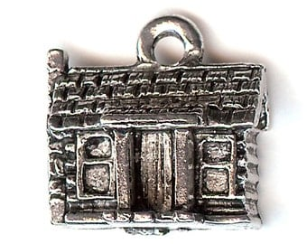 LOG CABIN Charm. Silver Plated. 3D Cottage. Made in the USA.