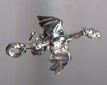 FLYING DRAGON Charm. Sterling Silver Plated Pewter. 3D. Made in the USA.