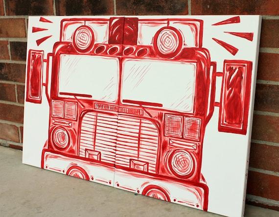 BIG red fire truck art . 20x32 . modern art on canvas . hand painted original . engine . bedroom decor . sincerelyYOU . art by melanie