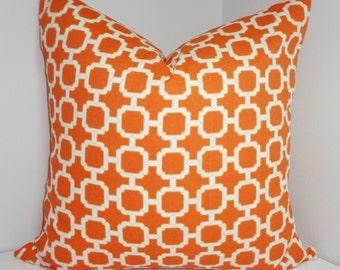 OUTDOOR Pillow Cover Orange Geometric Design Patio Deck Pillow Pool Pillow 18x18