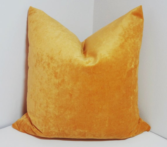 Velour Throw Pillows : Solid Golden Yellow Velour Pillow Cover Decorative Pillow