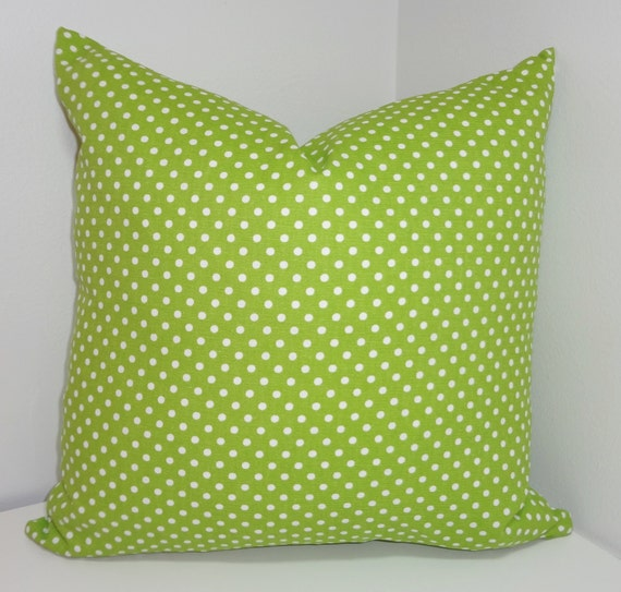 How To Make A Small Decorative Pillow : Chartreuse & White Small Polka Dot Pillow Decorative Pillow