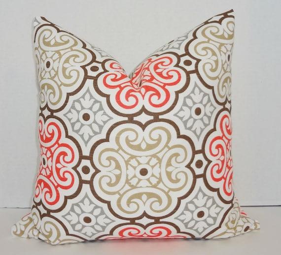Coral Tan Grey White Floral Print Decorative Pillow Cover