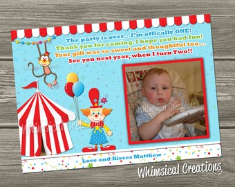 Circus Thank You Card - Carnival Thank You Card (Digital File) I Design, You Print