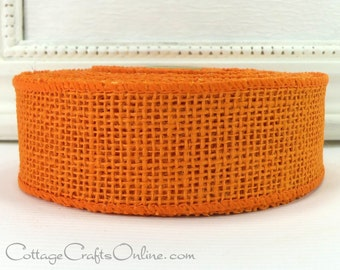 """CLEARANCE!! Burlap Wired Ribbon Orange, 1 1/2"""" wide, Natural Jute, TEN YARD Roll, Morex, Spring, Fall, Halloween Wire Edged Ribbon"""