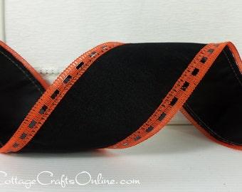 "Halloween Wired Ribbon,  2 1/2"" wide,  Black Velvet Orange Embellished Edge - THREE YARDS - ""Debut"" Craft Wire Edge Ribbon"