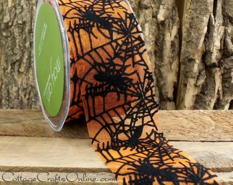 "SALE! Halloween Ribbon, 2"", Black Spider Web Orange Sheer, TWO & 1/3 Yards,  May Arts ""Spiderweb"", #60619 Velvet, Spider Ribbon"