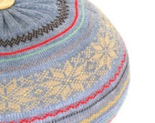LARGE upcycled sweater pouf, removable cover, grey multi Fair Isle knit