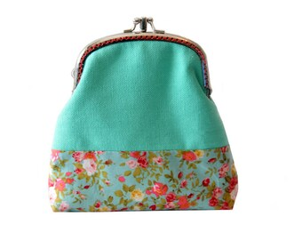 Mint Wallet - Double Coin Purse with cards slot - Clutch Purse - Mint Green with Red - Double Pockets - Silver Frame