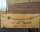 "Oak Stained With Wood Burned Edge 7.5""x19"" Personalized Birds on a Line Sign"